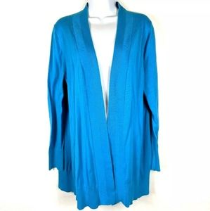 Lane Bryant Solid Bright Blue Open Front Cardigan